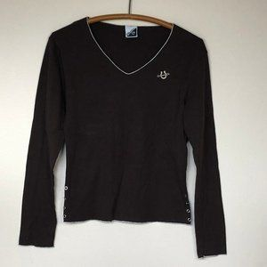 COWGIRL UP Brown Cotton Long Sleeve Tee M EUC